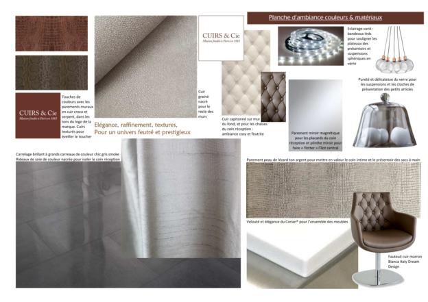 Magasin de maroquinerie Planche d'ambiance couleurs, matériaux et revêtements