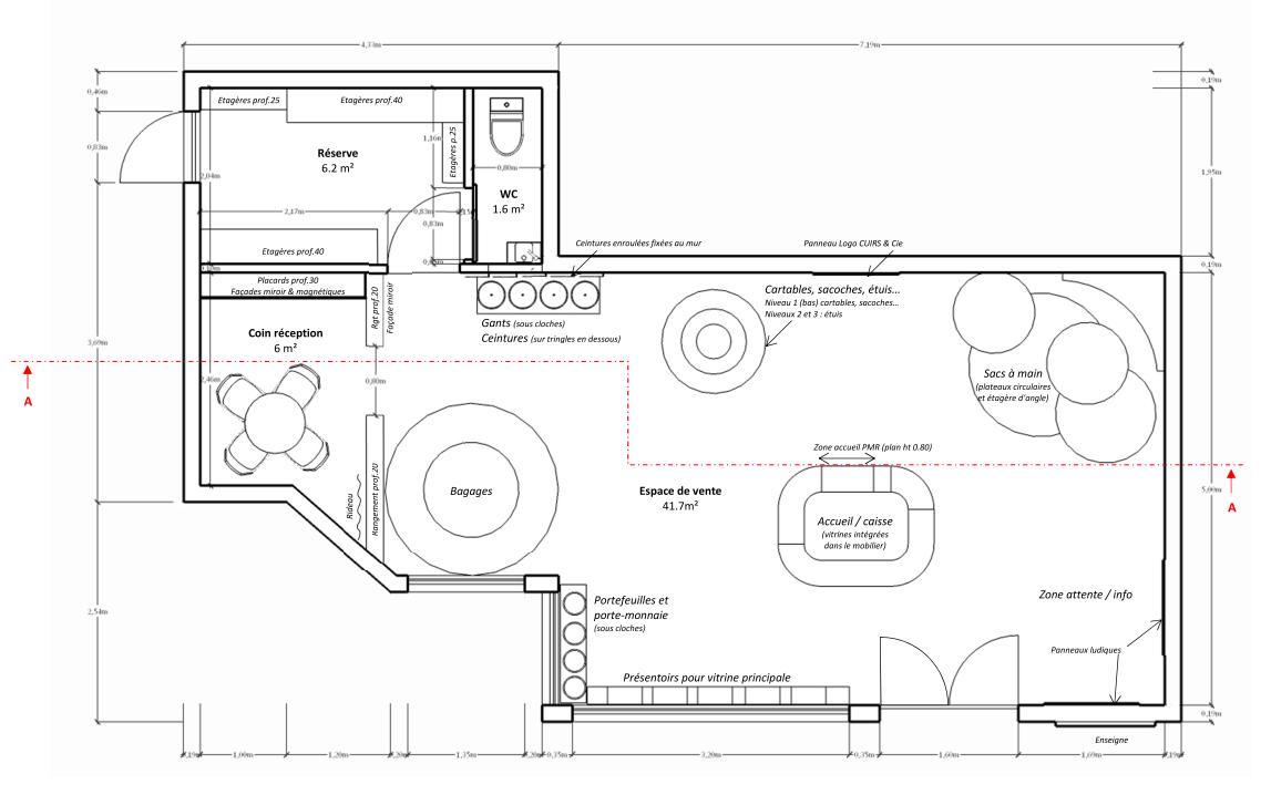 Magasin de maroquinerie plan d'aménagement de la boutique