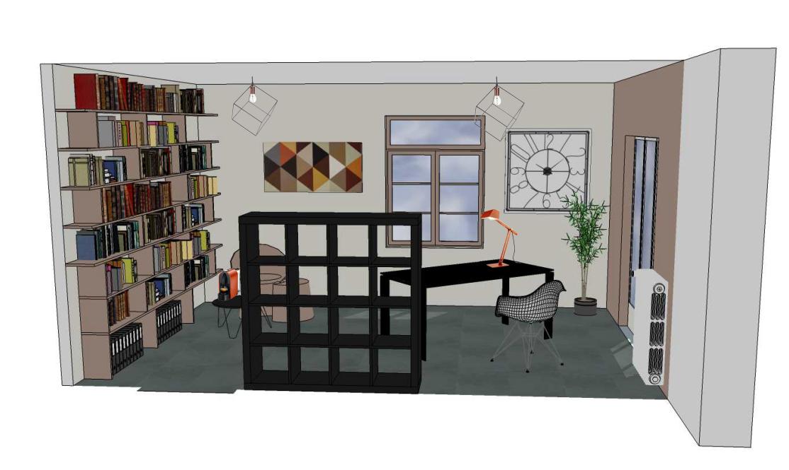 Bureau individuel, vue 3D informatique