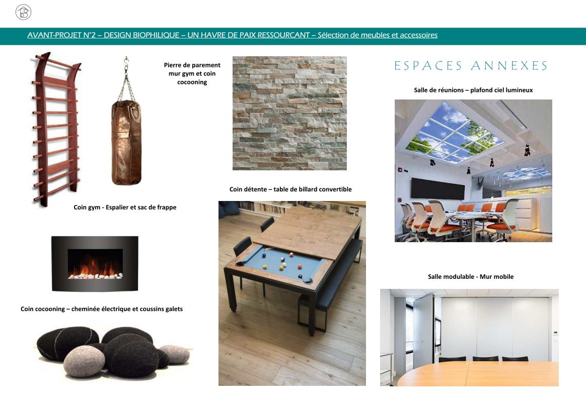 Plateau de bureaux pour entreprise projet 2 concept biophilique - Sélection de meubles et accessoires salle de réunions, espace détente