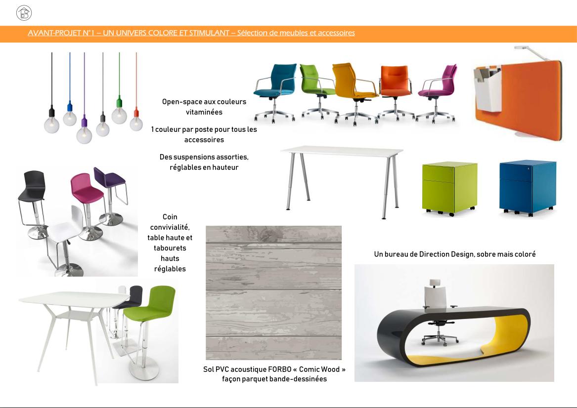 Plateau de bureaux pour entreprise projet 1 coloré et stimulant - Sélection de meubles et accessoires open-space et bureau direction