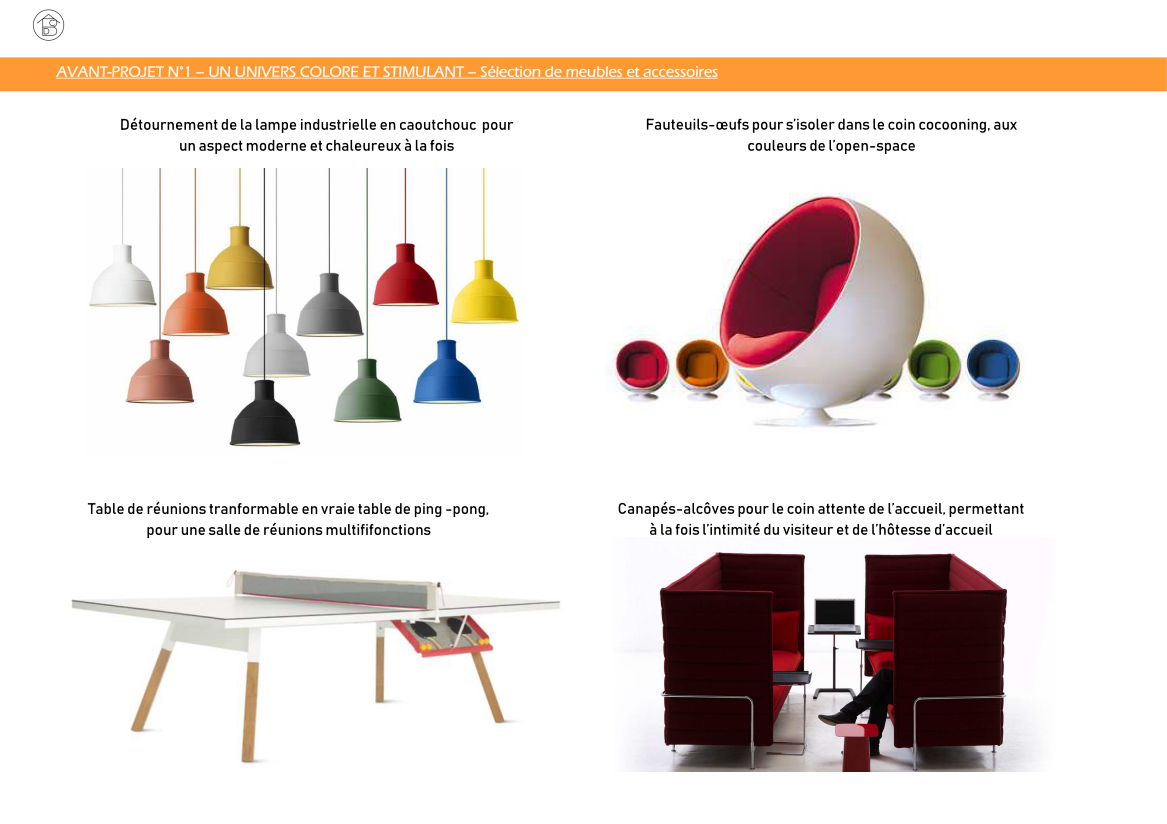 Plateau de bureaux pour entreprise projet 1 coloré et stimulant - Sélection de meubles et accessoires salle de réunions, détente, accueil