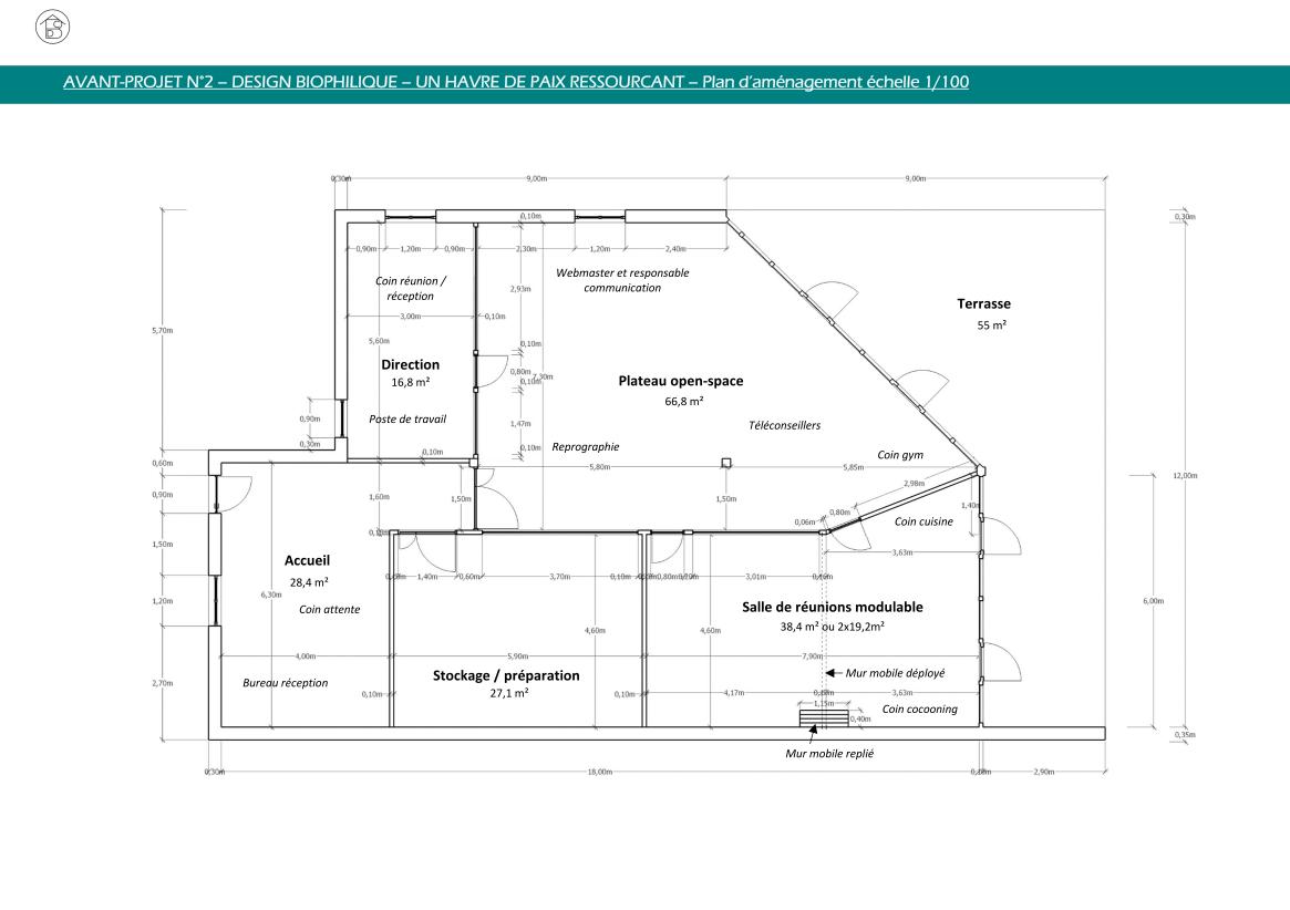 Plateau de bureaux pour entreprise Plan général projet 2 concept biophilique