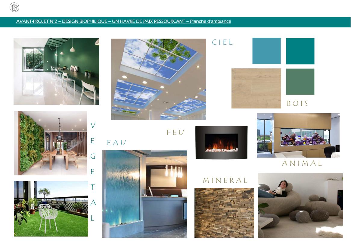 Plateau de bureaux pour entreprise projet 2 concept biophilique Planche d'ambiance générale