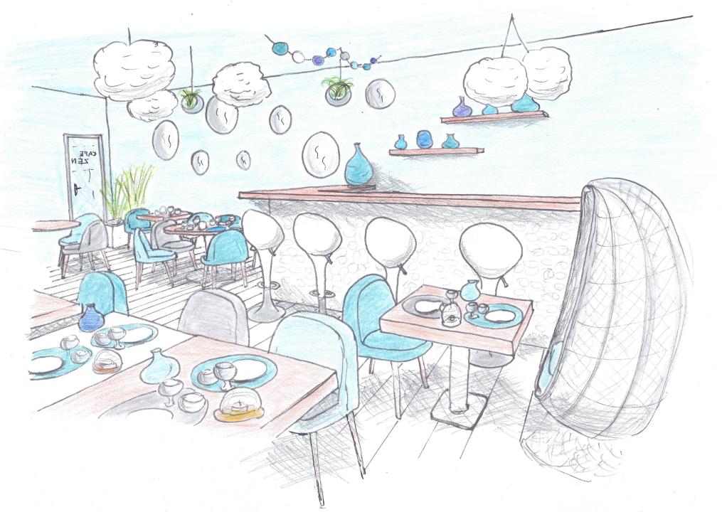 croquis d'ambiance restaurant zen vue côté bar