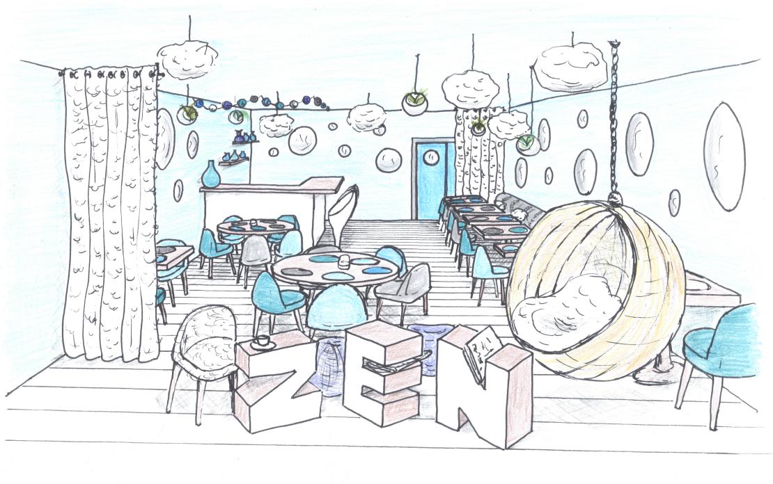 Croquis perspective d'ambiance restaurant zen vue générale