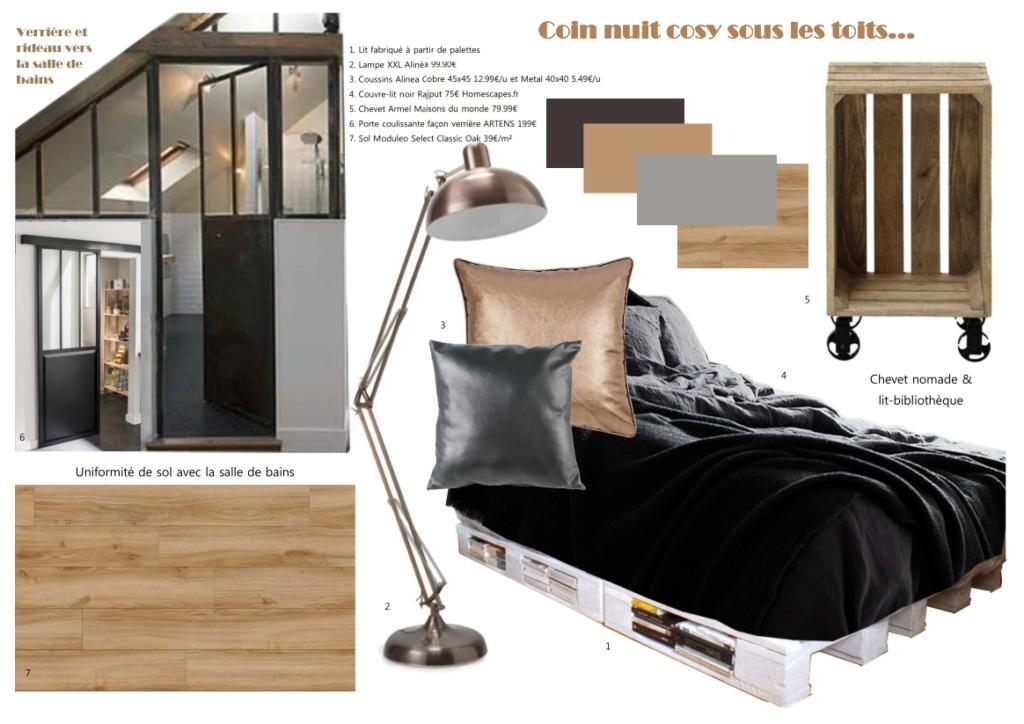 Planche d'ambiance chambre mini-loft