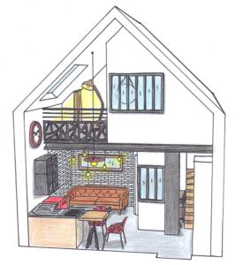 ABCD MAISON Conseil en aménagement intérieur et décoration - Croquis d'illustration mini loft pour barre latérale
