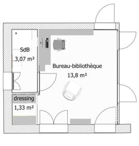 Plan transformation en bureau-bibliothèque et salle de bains