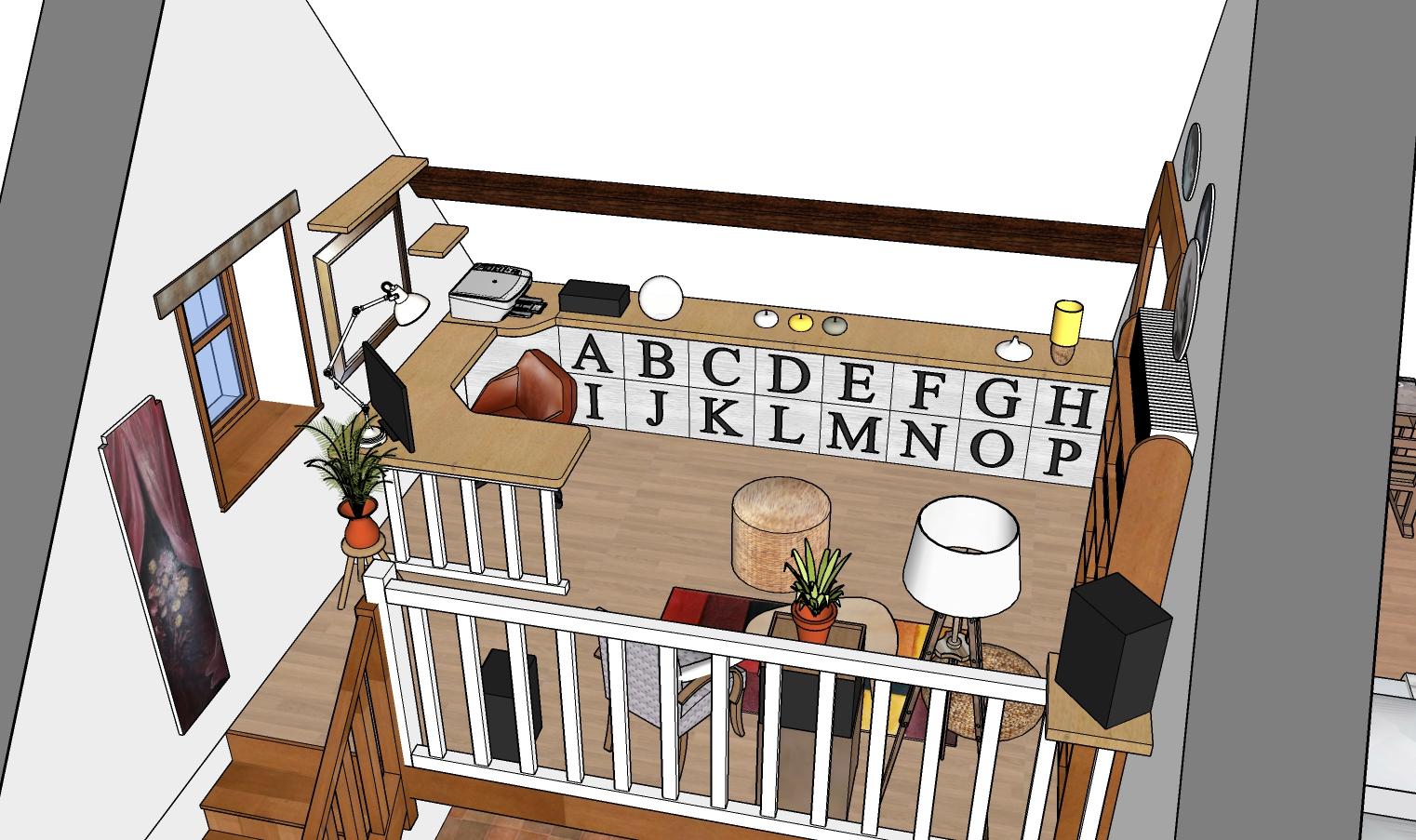 Vue 3D ensemble bureau mezzanine