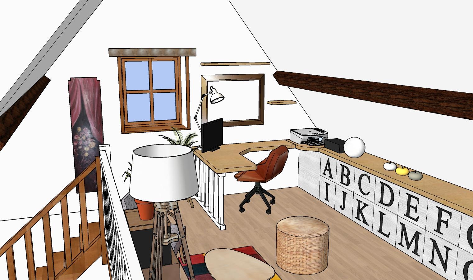 Vue 3D bureau angle