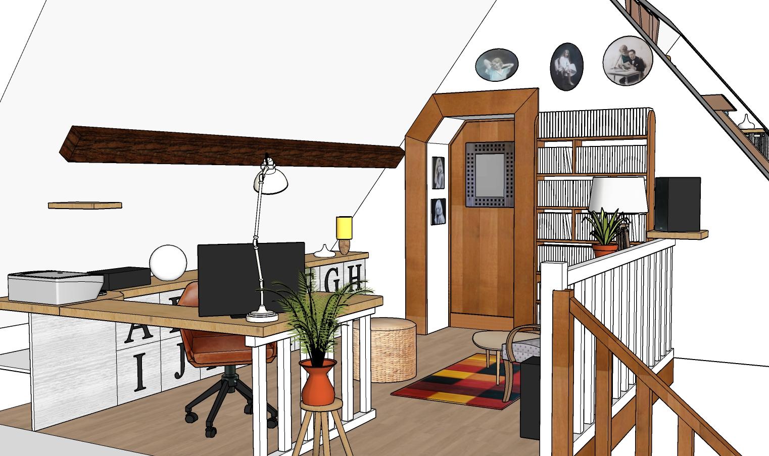 Vue 3D mezzanine bibliotheque