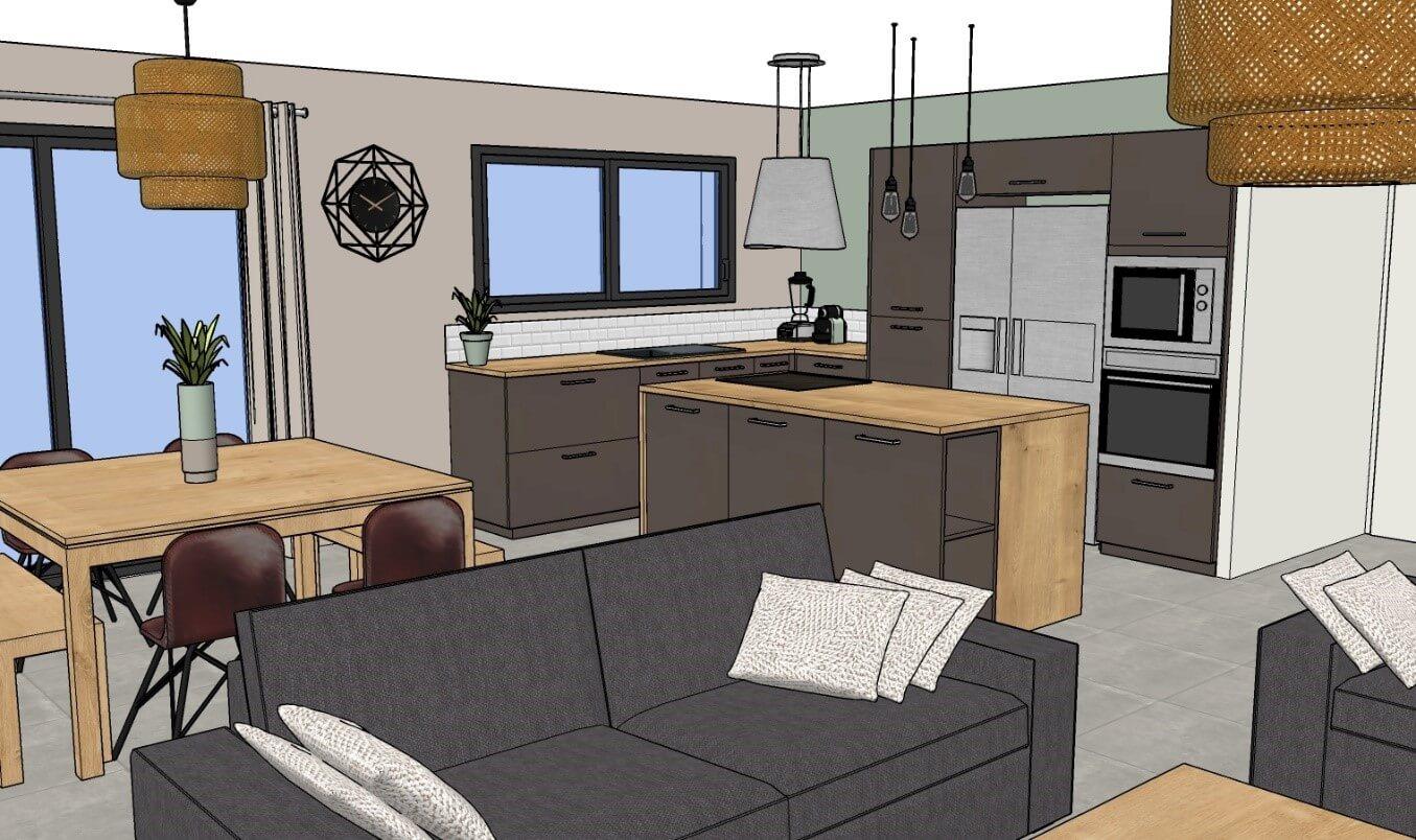 vue 3D cuisine salle à manger